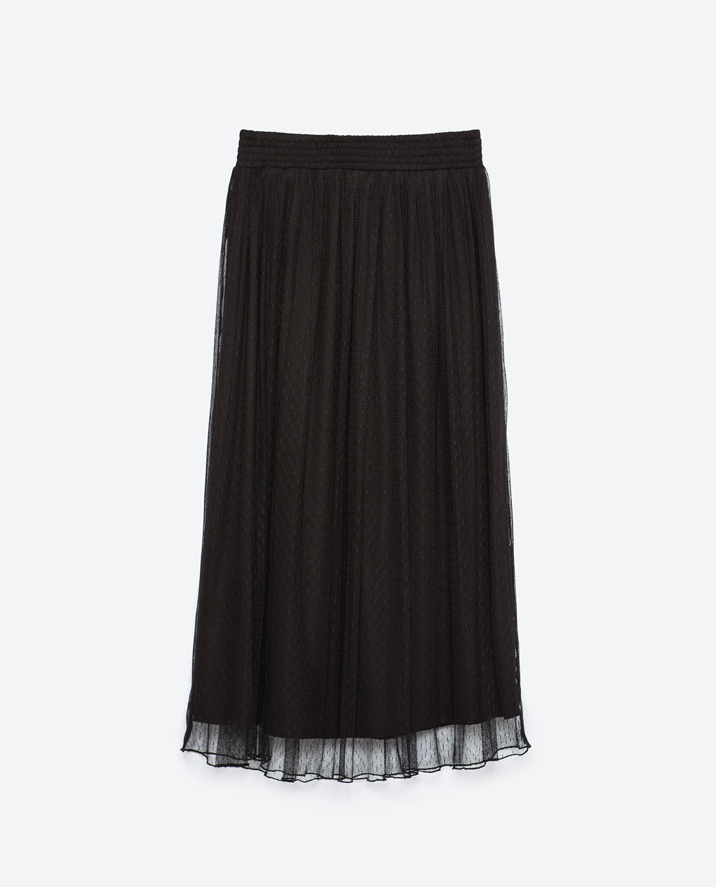 Sheer Midi Skirt - length: calf length; pattern: plain; fit: loose/voluminous; waist: mid/regular rise; predominant colour: black; occasions: casual, creative work; style: a-line; fibres: polyester/polyamide - 100%; texture group: sheer fabrics/chiffon/organza etc.; pattern type: fabric; season: a/w 2015; wardrobe: basic