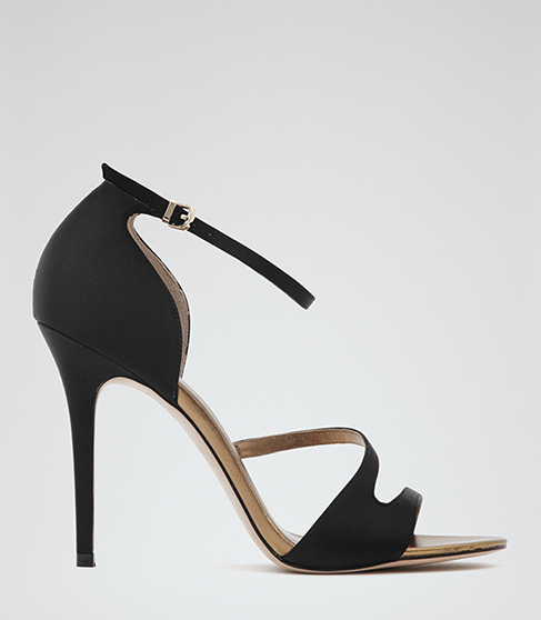Freestyle Strappy Sandals - predominant colour: black; occasions: evening, occasion; material: leather; ankle detail: ankle strap; heel: stiletto; toe: open toe/peeptoe; style: strappy; finish: plain; pattern: plain; heel height: very high; season: a/w 2015