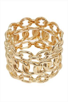 Gold Chunky Chain Stretch Bracelet - predominant colour: gold; occasions: evening, occasion; style: cuff; size: large/oversized; material: chain/metal; finish: metallic; season: a/w 2015; wardrobe: event