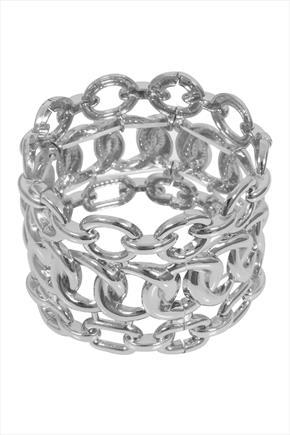 Silver Chunky Chain Stretch Bracelet - predominant colour: silver; occasions: evening, occasion; style: cuff; size: large/oversized; material: chain/metal; finish: metallic; season: a/w 2015; wardrobe: event