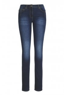 Tall Straight Cut Jeans At - style: straight leg; length: standard; pattern: plain; waist: high rise; pocket detail: traditional 5 pocket; predominant colour: navy; occasions: casual; fibres: cotton - stretch; jeans detail: whiskering, shading down centre of thigh, dark wash; texture group: denim; pattern type: fabric; season: a/w 2015