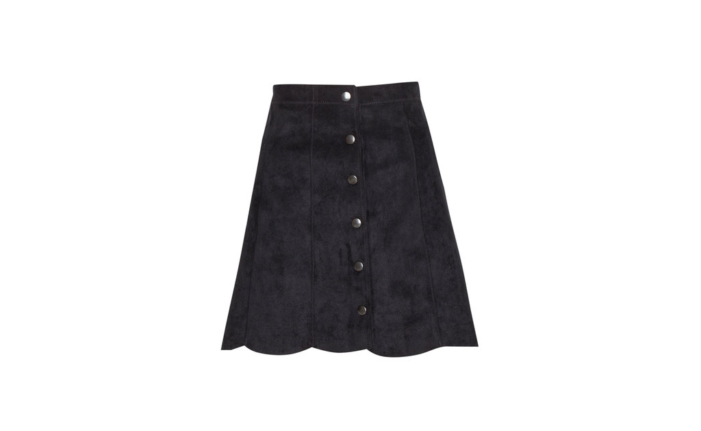 Black Suede Skirt - length: mid thigh; pattern: plain; fit: loose/voluminous; waist: mid/regular rise; predominant colour: black; occasions: casual; style: a-line; fibres: polyester/polyamide - 100%; pattern type: fabric; texture group: suede; season: a/w 2015; wardrobe: highlight