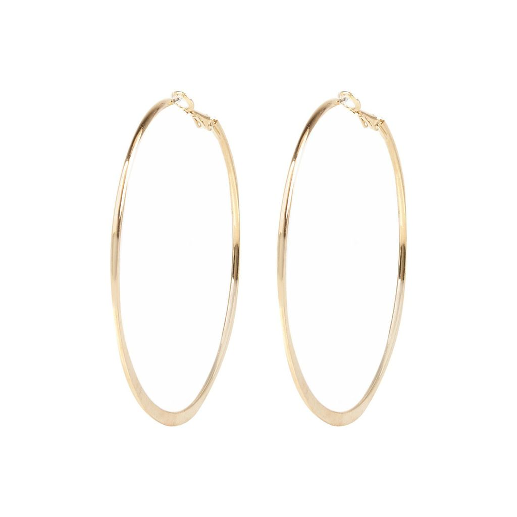 Womens Gold Tone Medium Flat Bottom Hoop Earrings - predominant colour: gold; occasions: casual, creative work; style: hoop; length: long; size: large/oversized; material: chain/metal; fastening: pierced; finish: metallic; season: a/w 2015; wardrobe: basic