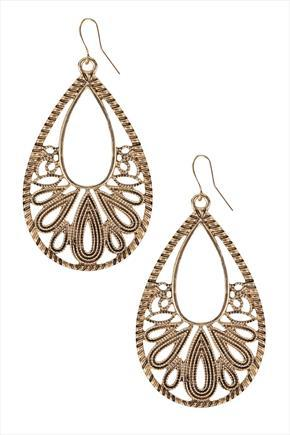 Gold Oval Filigree Earrings - predominant colour: gold; occasions: evening, occasion, creative work; style: drop; length: mid; size: standard; material: chain/metal; fastening: pierced; finish: metallic; embellishment: chain/metal; season: a/w 2015; wardrobe: highlight