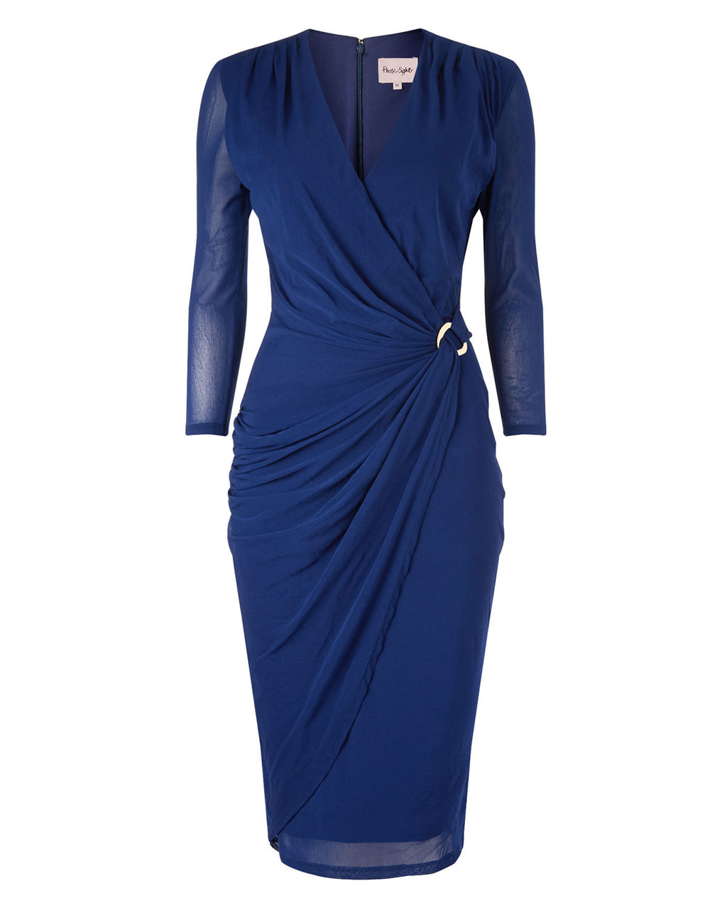 Everleigh Mesh Dress - style: faux wrap/wrap; neckline: v-neck; pattern: plain; waist detail: flattering waist detail; predominant colour: royal blue; occasions: evening, occasion; length: on the knee; fit: body skimming; fibres: polyester/polyamide - 100%; sleeve length: 3/4 length; sleeve style: standard; texture group: sheer fabrics/chiffon/organza etc.; pattern type: fabric; season: a/w 2015; wardrobe: event