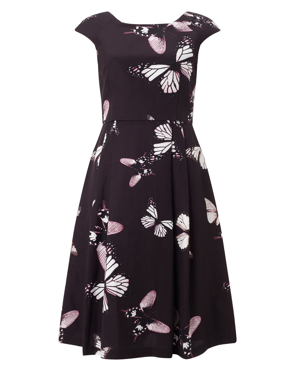 Corinne Dress - length: below the knee; neckline: round neck; sleeve style: capped; secondary colour: blush; predominant colour: black; occasions: evening, occasion; fit: fitted at waist & bust; style: fit & flare; fibres: cotton - mix; hip detail: soft pleats at hip/draping at hip/flared at hip; sleeve length: sleeveless; pattern type: fabric; pattern: florals; texture group: woven light midweight; multicoloured: multicoloured; season: a/w 2015; wardrobe: event