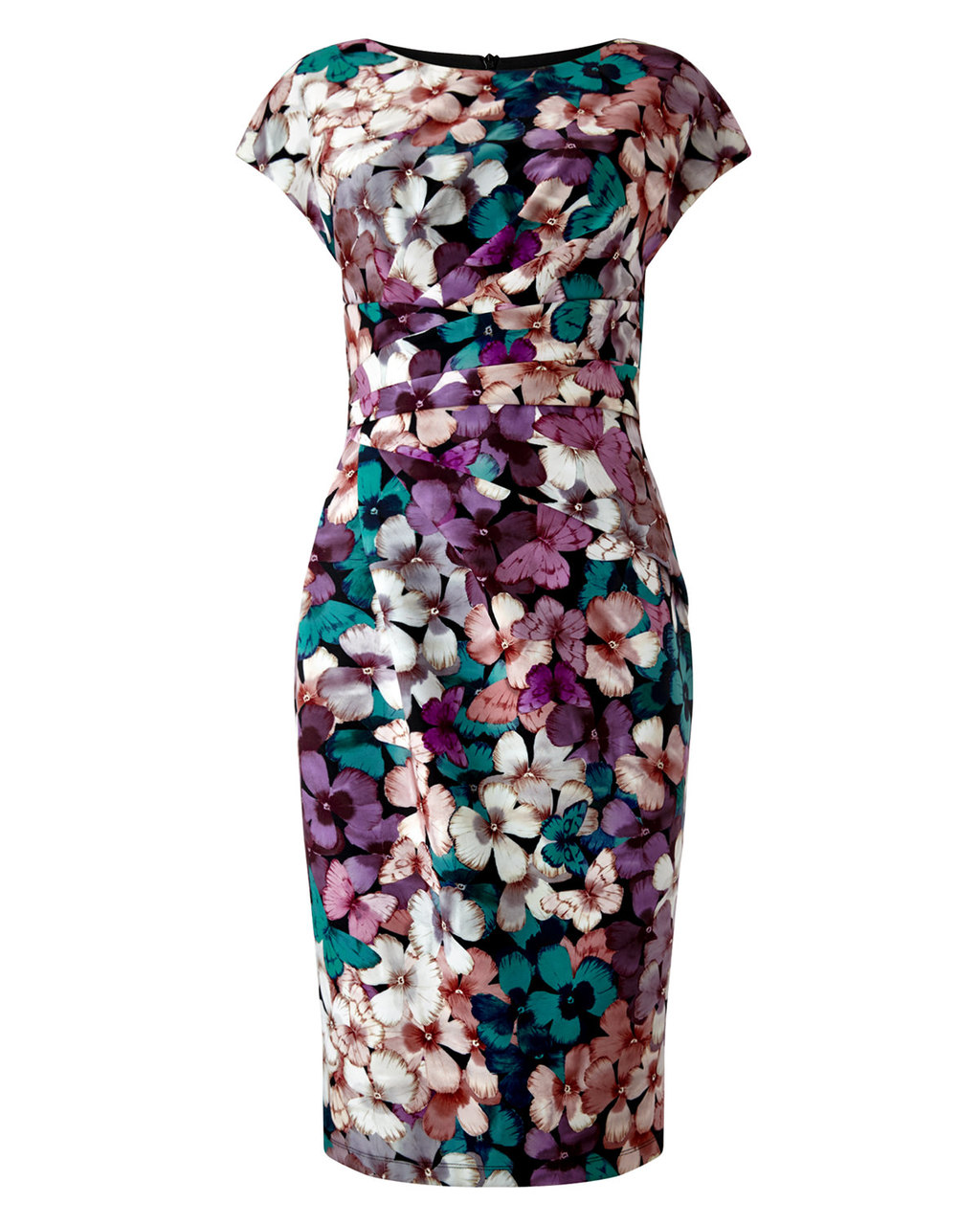Bessy Floral Dress - style: shift; neckline: round neck; sleeve style: capped; secondary colour: ivory/cream; predominant colour: aubergine; occasions: evening, occasion; length: on the knee; fit: body skimming; fibres: polyester/polyamide - stretch; sleeve length: short sleeve; pattern type: fabric; pattern: florals; texture group: jersey - stretchy/drapey; multicoloured: multicoloured; season: a/w 2015