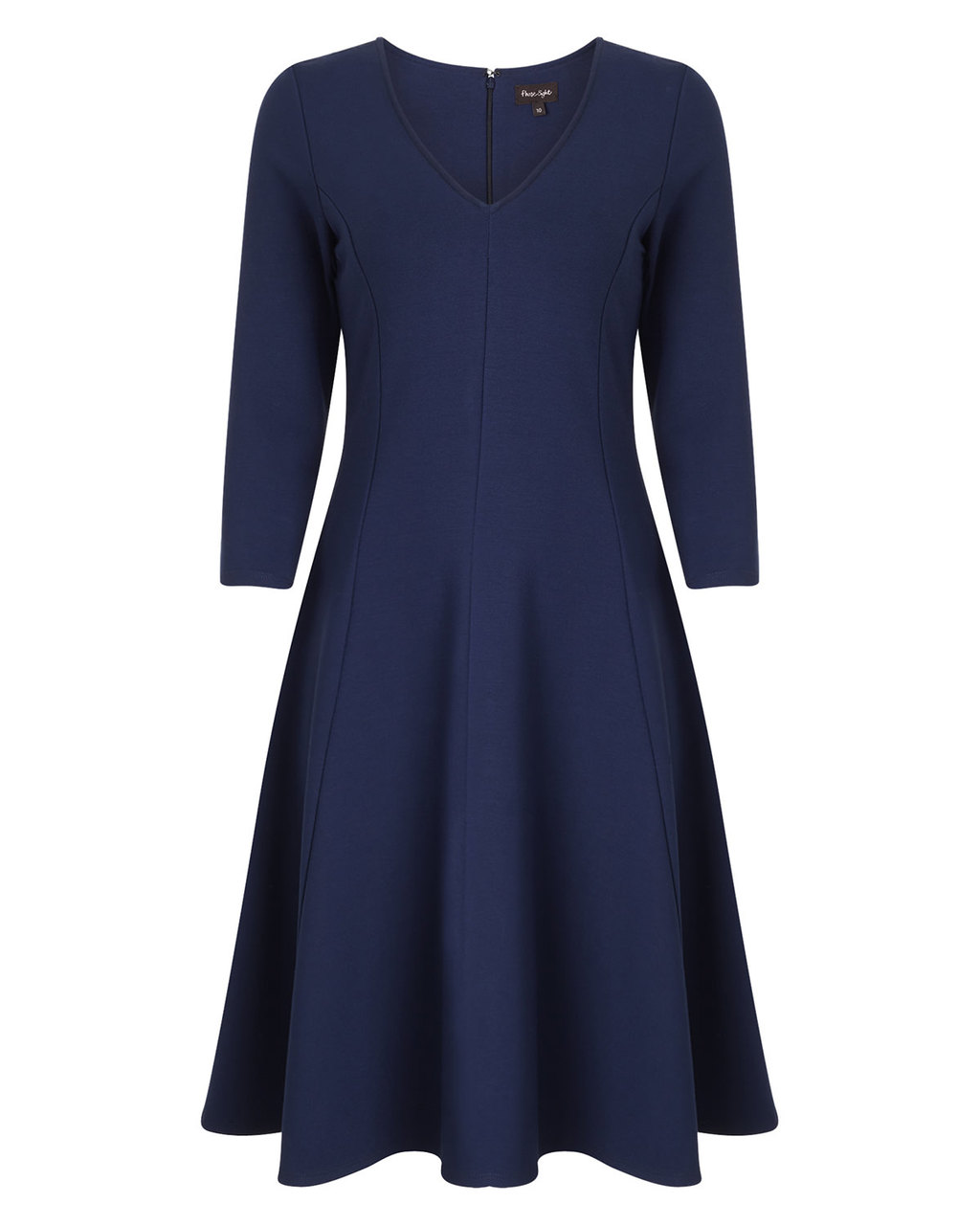 Sienna Skater Dress - neckline: v-neck; pattern: plain; predominant colour: navy; occasions: work, occasion; length: on the knee; fit: fitted at waist & bust; style: fit & flare; fibres: polyester/polyamide - mix; sleeve length: 3/4 length; sleeve style: standard; pattern type: fabric; texture group: other - light to midweight; season: a/w 2015