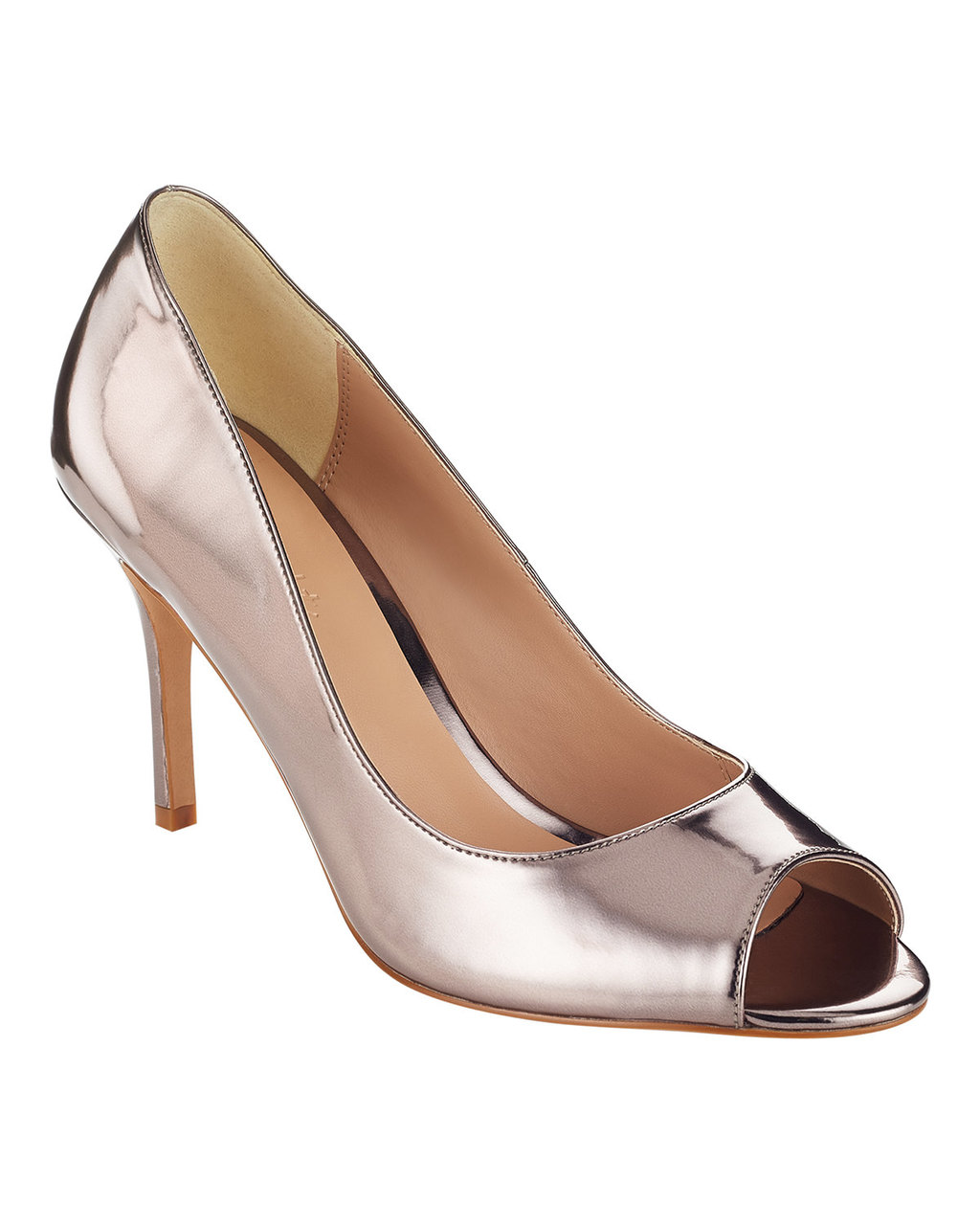 Georgia Peep Toe Court - predominant colour: silver; occasions: evening, occasion; material: leather; heel height: high; heel: stiletto; toe: open toe/peeptoe; style: courts; finish: metallic; pattern: plain; season: a/w 2015