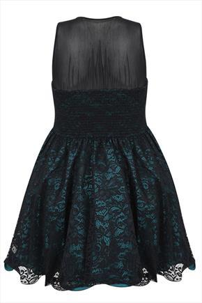 Teal & Black Floral Lace Sleeveless Skater Prom Dress - sleeve style: sleeveless; predominant colour: teal; secondary colour: black; occasions: evening, occasion; length: just above the knee; fit: fitted at waist & bust; style: fit & flare; neckline: crew; sleeve length: sleeveless; texture group: lace; pattern type: fabric; pattern size: standard; pattern: patterned/print; embellishment: lace; season: a/w 2015; trends: romantic goth; wardrobe: event