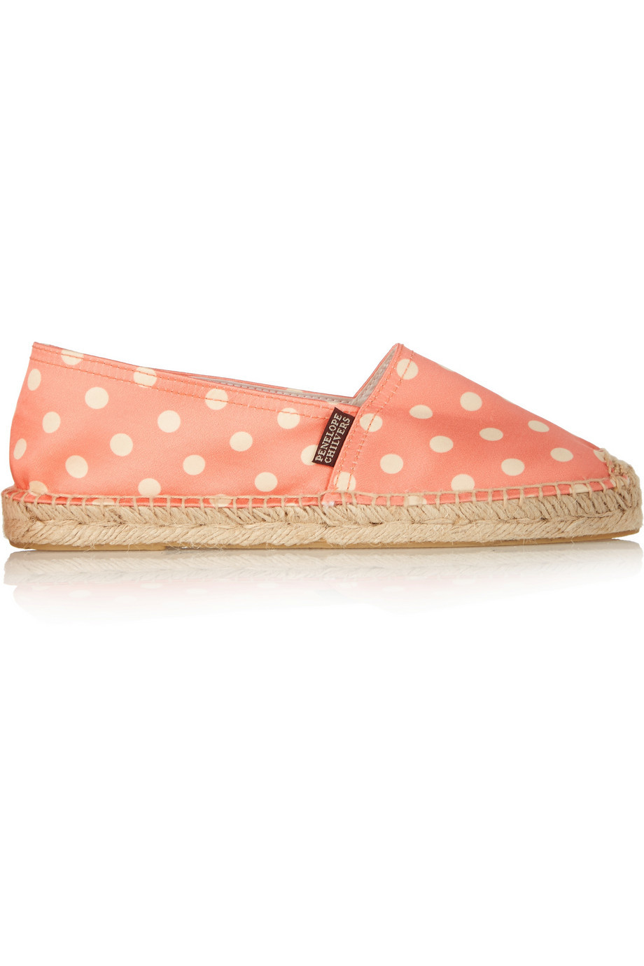 Polka Dot Satin Espadrilles Coral - predominant colour: ivory/cream; secondary colour: pink; occasions: casual, holiday; material: fabric; heel height: flat; toe: round toe; finish: plain; pattern: polka dot; style: espadrilles; season: a/w 2015
