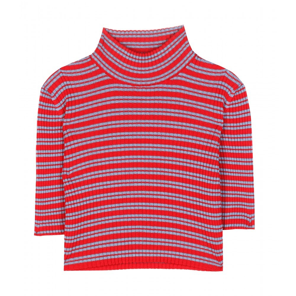 Cropped Wool Turtleneck Sweater - pattern: horizontal stripes; neckline: high neck; length: cropped; style: standard; predominant colour: true red; secondary colour: pale blue; occasions: casual, creative work; fibres: wool - 100%; fit: slim fit; sleeve length: half sleeve; sleeve style: standard; texture group: knits/crochet; pattern type: knitted - other; pattern size: standard; season: a/w 2015; wardrobe: highlight