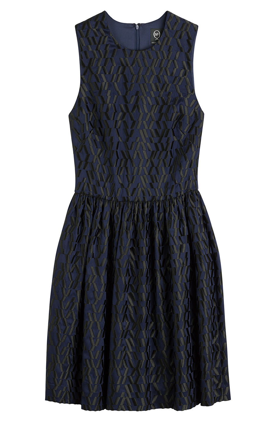 Embroidered Mini Dress Blue - length: mid thigh; neckline: round neck; sleeve style: sleeveless; predominant colour: black; occasions: evening, occasion; fit: fitted at waist & bust; style: fit & flare; fibres: polyester/polyamide - mix; sleeve length: sleeveless; pattern type: fabric; pattern size: standard; pattern: patterned/print; texture group: other - light to midweight; embellishment: embroidered; season: a/w 2015