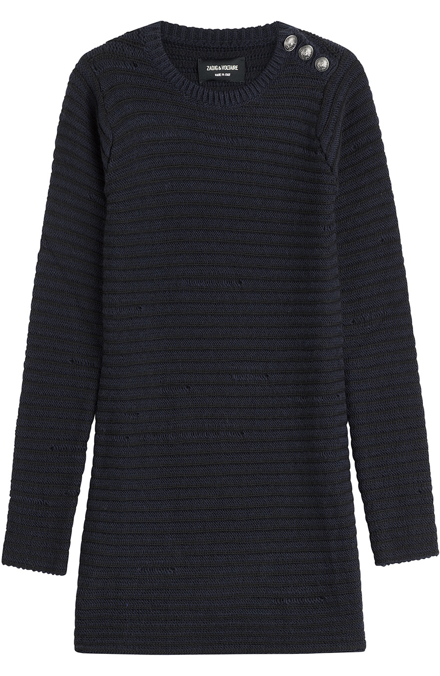 Striped Pullover With Merino Wool None - pattern: plain; style: standard; predominant colour: navy; occasions: casual; fibres: wool - 100%; fit: standard fit; neckline: crew; length: mid thigh; sleeve length: long sleeve; sleeve style: standard; texture group: knits/crochet; pattern type: knitted - fine stitch; season: a/w 2015; wardrobe: basic