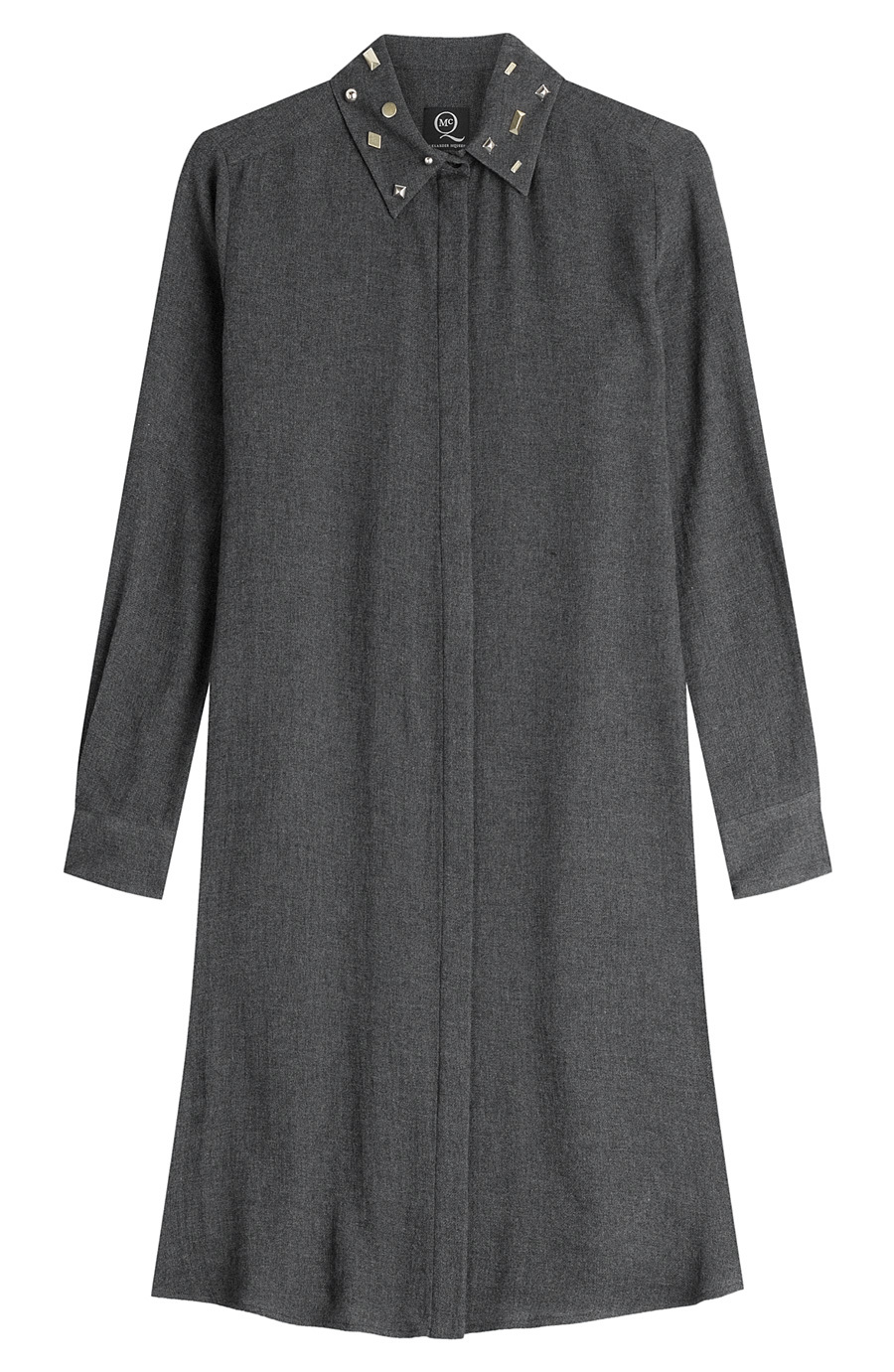 Shirt Dress With Wool - style: shirt; neckline: shirt collar/peter pan/zip with opening; pattern: plain; predominant colour: denim; occasions: casual, creative work; length: just above the knee; fit: straight cut; fibres: wool - mix; sleeve length: long sleeve; sleeve style: standard; pattern type: fabric; texture group: woven light midweight; embellishment: studs; season: a/w 2015; wardrobe: highlight; embellishment location: neck