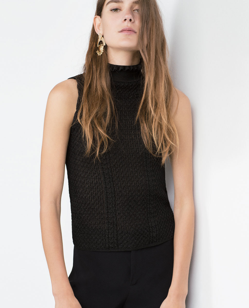 Tank Top - pattern: plain; sleeve style: sleeveless; neckline: high neck; predominant colour: black; occasions: casual, creative work; length: standard; style: top; fibres: viscose/rayon - stretch; fit: body skimming; sleeve length: sleeveless; texture group: knits/crochet; pattern type: knitted - fine stitch; season: a/w 2015