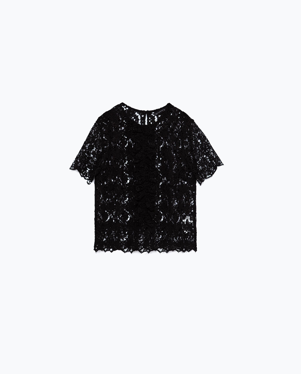 Lace Top - predominant colour: black; occasions: casual, evening; length: standard; style: top; fibres: polyester/polyamide - 100%; fit: straight cut; neckline: crew; sleeve length: short sleeve; sleeve style: standard; texture group: lace; pattern type: fabric; pattern size: standard; pattern: patterned/print; season: a/w 2015; trends: romantic goth; wardrobe: highlight