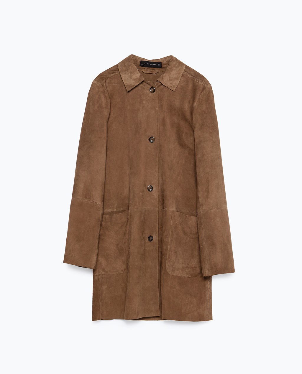 Suede Overcoat - pattern: plain; style: single breasted; length: mid thigh; predominant colour: tan; occasions: casual, creative work; fit: straight cut (boxy); fibres: leather - 100%; collar: shirt collar/peter pan/zip with opening; sleeve length: long sleeve; sleeve style: standard; collar break: high; pattern type: fabric; texture group: suede; season: a/w 2015; trends: folky 70s; wardrobe: highlight