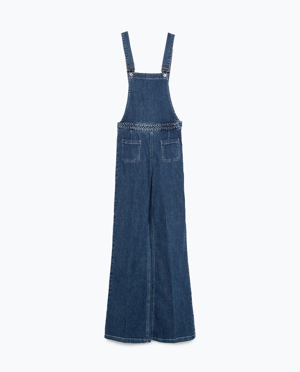 Denim Dungarees - length: standard; pattern: plain; sleeve style: sleeveless; hip detail: front pockets at hip; predominant colour: pale blue; occasions: casual; fit: fitted at waist & bust; fibres: cotton - stretch; sleeve length: sleeveless; texture group: denim; style: dungarees; neckline: low square neck; pattern type: fabric; season: a/w 2015; trends: folky 70s; wardrobe: highlight