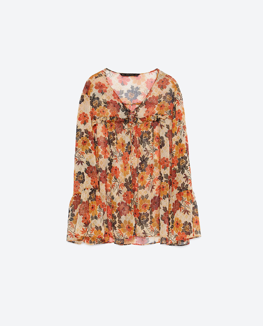 Printed Blouse - neckline: round neck; length: below the bottom; style: blouse; secondary colour: ivory/cream; predominant colour: bright orange; occasions: casual, creative work; fibres: polyester/polyamide - 100%; fit: loose; sleeve length: long sleeve; sleeve style: standard; texture group: sheer fabrics/chiffon/organza etc.; pattern type: fabric; pattern size: standard; pattern: patterned/print; multicoloured: multicoloured; season: a/w 2015; trends: folky 70s; wardrobe: highlight