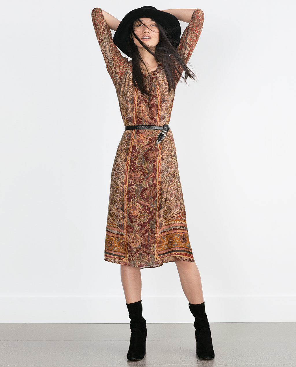 Long Patterned Dress - style: shift; length: below the knee; pattern: paisley; waist detail: belted waist/tie at waist/drawstring; secondary colour: terracotta; predominant colour: camel; occasions: casual, creative work; fit: fitted at waist & bust; neckline: crew; hip detail: subtle/flattering hip detail; sleeve length: 3/4 length; sleeve style: standard; pattern type: fabric; texture group: other - light to midweight; season: a/w 2015; trends: folky 70s; wardrobe: highlight