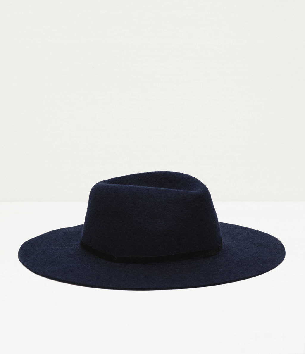 Wool Hat - predominant colour: black; occasions: casual; type of pattern: standard; style: fedora; size: large; material: felt; pattern: plain; season: a/w 2015; wardrobe: basic