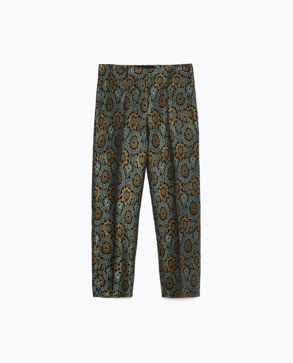 Cropped Trousers - waist: mid/regular rise; secondary colour: mustard; predominant colour: mid grey; occasions: casual, creative work; length: calf length; fibres: polyester/polyamide - mix; fit: wide leg; pattern type: fabric; pattern: patterned/print; texture group: woven light midweight; style: standard; pattern size: standard (bottom); multicoloured: multicoloured; season: a/w 2015; wardrobe: highlight
