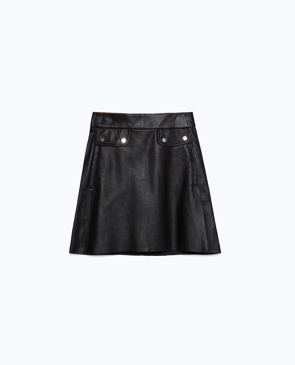 Leather Skirt - length: mid thigh; pattern: plain; fit: loose/voluminous; waist: mid/regular rise; predominant colour: black; occasions: casual, evening; style: a-line; fibres: leather - stretch; texture group: leather; pattern type: fabric; season: a/w 2015; wardrobe: highlight