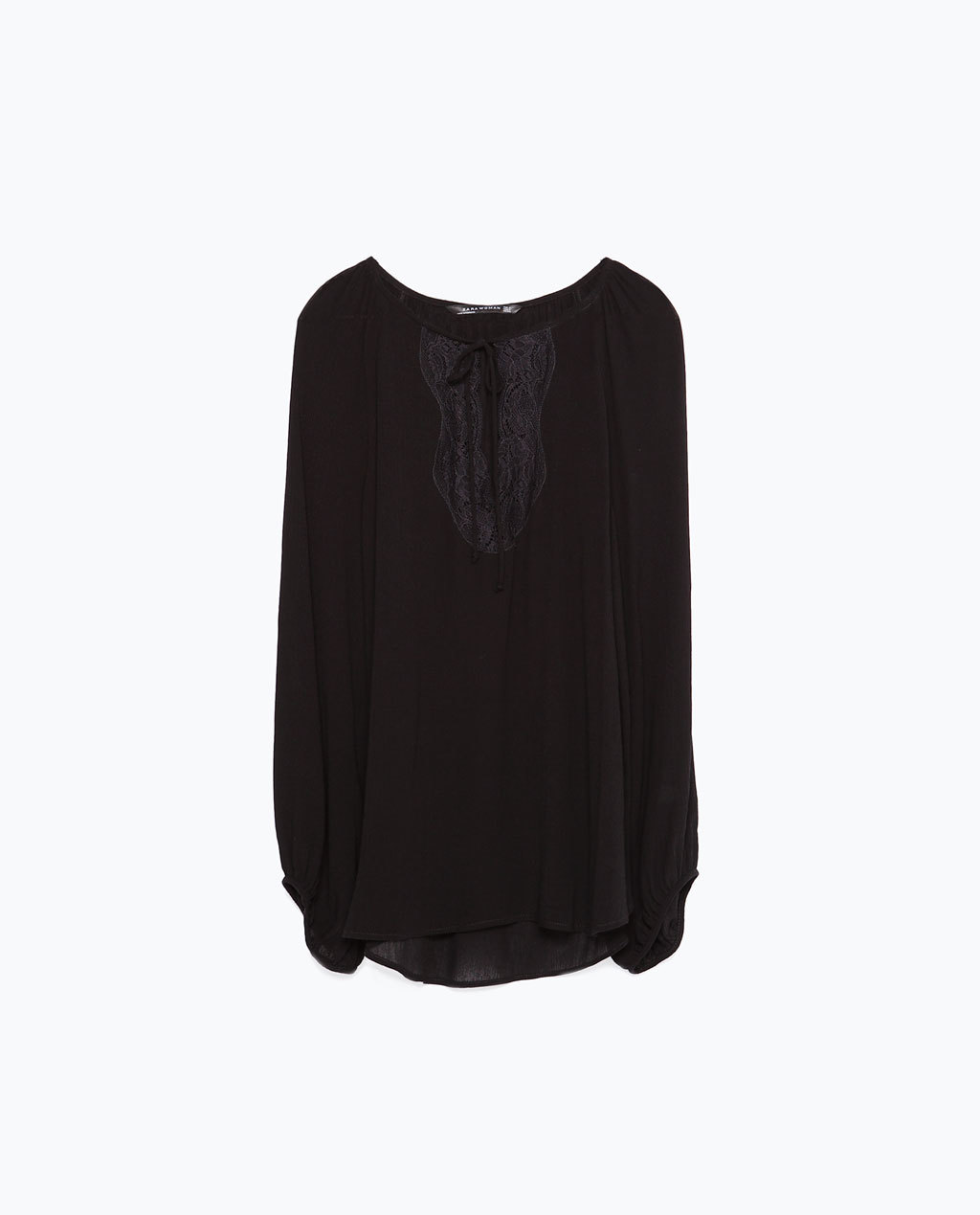 Lace Neckline Blouse - neckline: round neck; pattern: plain; style: blouse; predominant colour: black; occasions: casual, creative work; length: standard; fibres: viscose/rayon - 100%; fit: loose; sleeve length: long sleeve; sleeve style: standard; pattern type: fabric; texture group: woven light midweight; embellishment: lace; season: a/w 2015; wardrobe: highlight