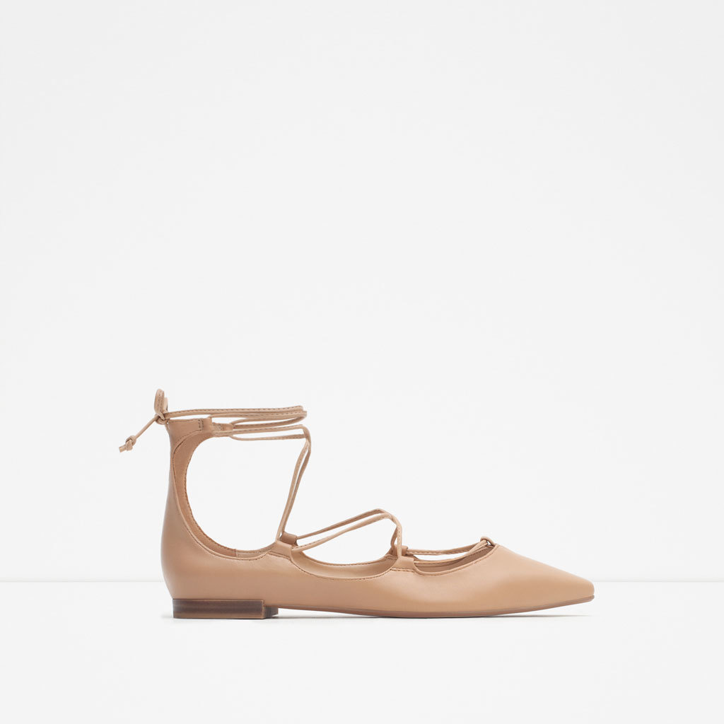 Tie Up Leather Ballerinas - predominant colour: stone; occasions: casual, creative work; material: leather; heel height: flat; ankle detail: ankle strap; toe: pointed toe; style: ballerinas / pumps; finish: plain; pattern: plain; season: a/w 2015; wardrobe: basic
