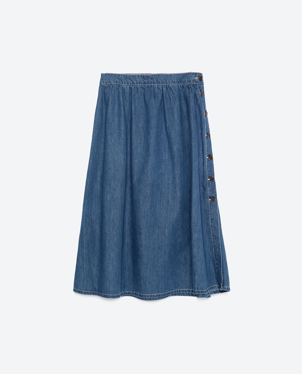 Flowing Denim Skirt - length: below the knee; pattern: plain; style: full/prom skirt; fit: loose/voluminous; waist: mid/regular rise; predominant colour: denim; occasions: casual, creative work; fibres: cotton - stretch; texture group: denim; pattern type: fabric; season: a/w 2015; wardrobe: basic