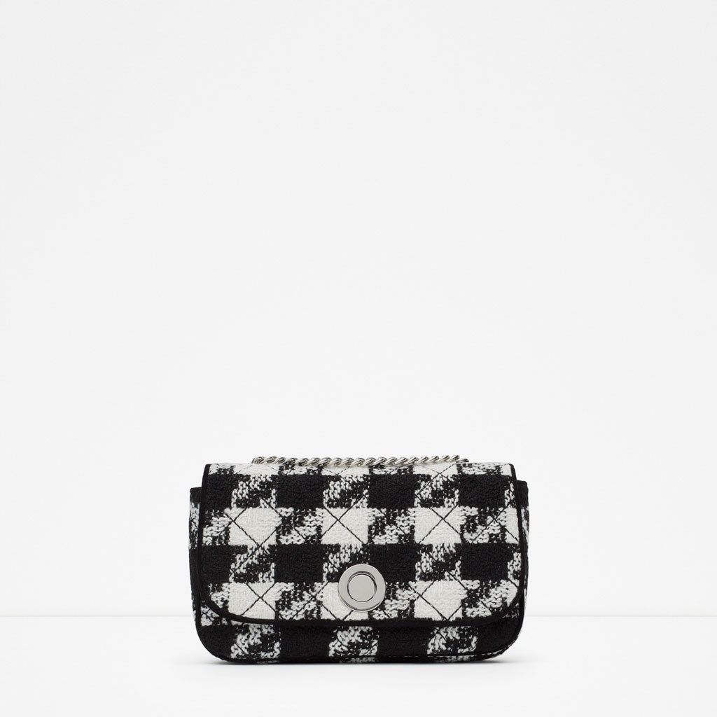 Cloth Messenger Bag - secondary colour: white; predominant colour: black; occasions: casual, evening; type of pattern: standard; style: messenger; length: across body/long; size: standard; material: fabric; embellishment: quilted; pattern: dogtooth; finish: patent; season: a/w 2015; wardrobe: highlight
