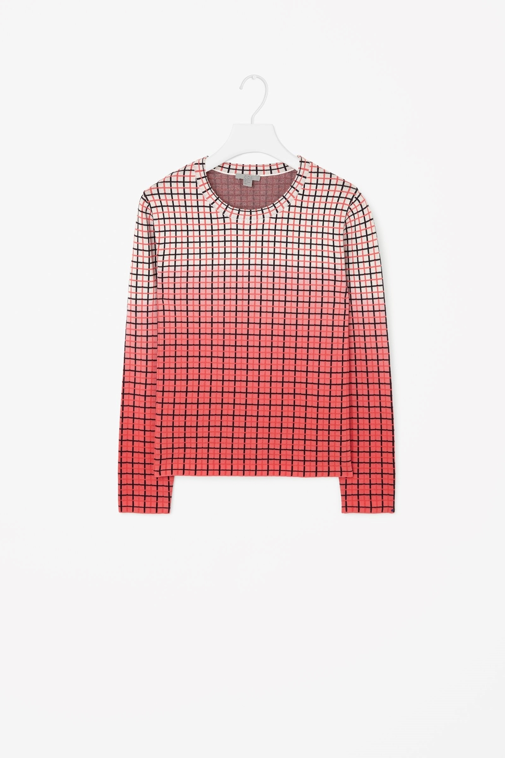 Fading Check Jumper - pattern: checked/gingham; style: standard; predominant colour: coral; secondary colour: nude; occasions: casual; length: standard; fibres: cotton - 100%; fit: standard fit; neckline: crew; sleeve length: long sleeve; sleeve style: standard; texture group: knits/crochet; pattern type: fabric; pattern size: standard; multicoloured: multicoloured; season: a/w 2015; wardrobe: highlight