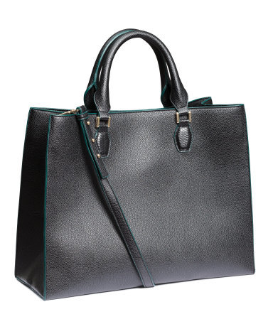 Handbag - predominant colour: black; occasions: casual, creative work; type of pattern: standard; style: tote; length: handle; size: oversized; material: faux leather; pattern: plain; finish: plain; season: a/w 2015; wardrobe: investment