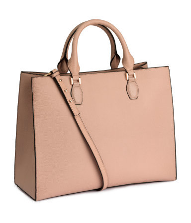 Handbag - predominant colour: nude; occasions: casual, work, creative work; type of pattern: standard; style: tote; length: handle; size: oversized; material: faux leather; pattern: plain; finish: plain; season: a/w 2015; trends: pink aw 15; wardrobe: investment