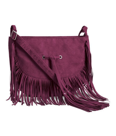 Shoulder Bag - predominant colour: magenta; occasions: casual, creative work; type of pattern: standard; style: messenger; length: across body/long; size: standard; embellishment: fringing; pattern: plain; finish: plain; material: faux suede; season: a/w 2015; trends: folky 70s; wardrobe: highlight