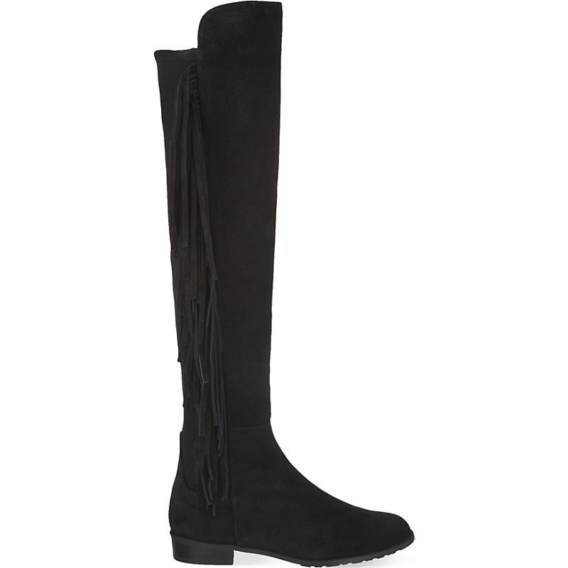Mane Fringed Knee High Boots, Women's, Eur 37.5 / 4.5 Uk Women, Black - predominant colour: black; occasions: casual, creative work; material: suede; heel height: flat; heel: standard; toe: round toe; boot length: knee; style: standard; finish: plain; pattern: plain; embellishment: fringing; season: a/w 2015