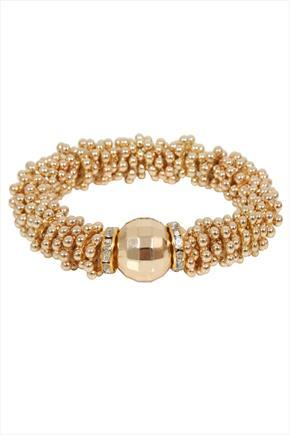 Gold Cluster Ball Stretch Bracelet - predominant colour: gold; occasions: evening, occasion; size: standard; material: chain/metal; finish: metallic; embellishment: beading; season: a/w 2015; style: bead; wardrobe: event