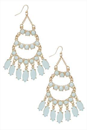 Pastel Blue Opal Stone Chandelier Earrings - predominant colour: pale blue; secondary colour: gold; occasions: evening, occasion; style: chandelier; length: long; size: large/oversized; material: chain/metal; fastening: pierced; finish: metallic; embellishment: jewels/stone; season: a/w 2015; wardrobe: event