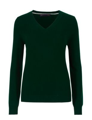 Pure Cashmere V Neck Jumper - neckline: v-neck; pattern: plain; style: standard; predominant colour: dark green; occasions: casual, creative work; length: standard; fit: standard fit; fibres: cashmere - 100%; sleeve length: long sleeve; sleeve style: standard; texture group: knits/crochet; pattern type: knitted - fine stitch; season: s/s 2015