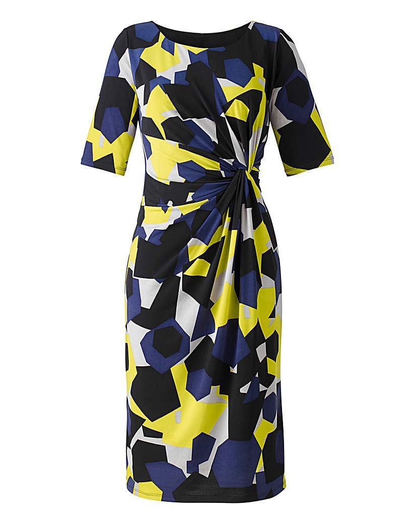 Geo Print Twist Front Dress - style: shift; length: below the knee; neckline: round neck; waist detail: twist front waist detail/nipped in at waist on one side/soft pleats/draping/ruching/gathering waist detail; predominant colour: navy; secondary colour: yellow; occasions: evening, creative work; fit: body skimming; sleeve length: half sleeve; sleeve style: standard; pattern type: fabric; pattern size: standard; pattern: patterned/print; texture group: jersey - stretchy/drapey; season: a/w 2015