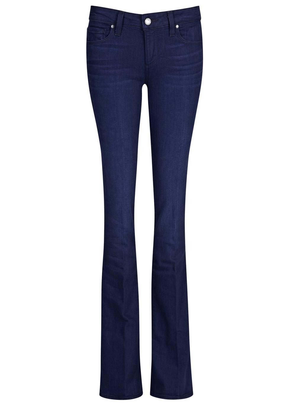 Lou Lou Dark Blue Flared Jeans - style: flares; length: standard; pattern: plain; pocket detail: traditional 5 pocket; waist: mid/regular rise; predominant colour: navy; occasions: casual, evening, creative work; fibres: cotton - stretch; jeans detail: whiskering; texture group: denim; pattern type: fabric; season: a/w 2015