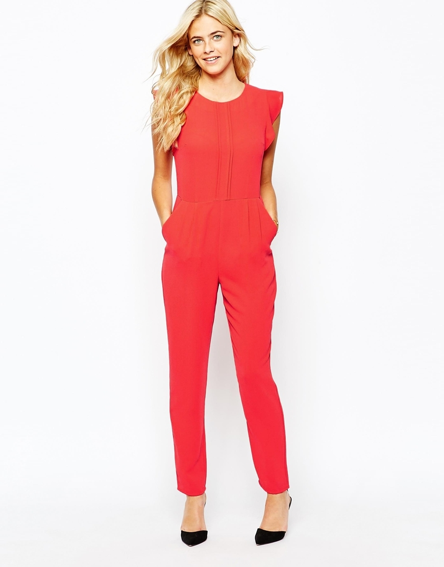 Tailored Jumpsuit Bright Red - length: standard; neckline: round neck; sleeve style: capped; fit: tailored/fitted; pattern: plain; predominant colour: coral; occasions: casual, evening; sleeve length: sleeveless; texture group: crepes; style: jumpsuit; season: a/w 2015; wardrobe: highlight