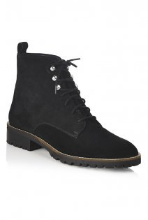 Tall Lts Hitch Suede Hiker Style Boots At - predominant colour: black; occasions: casual; material: suede; heel height: flat; heel: standard; toe: pointed toe; boot length: ankle boot; finish: plain; pattern: plain; shoe detail: tread; style: lace ups; season: a/w 2015
