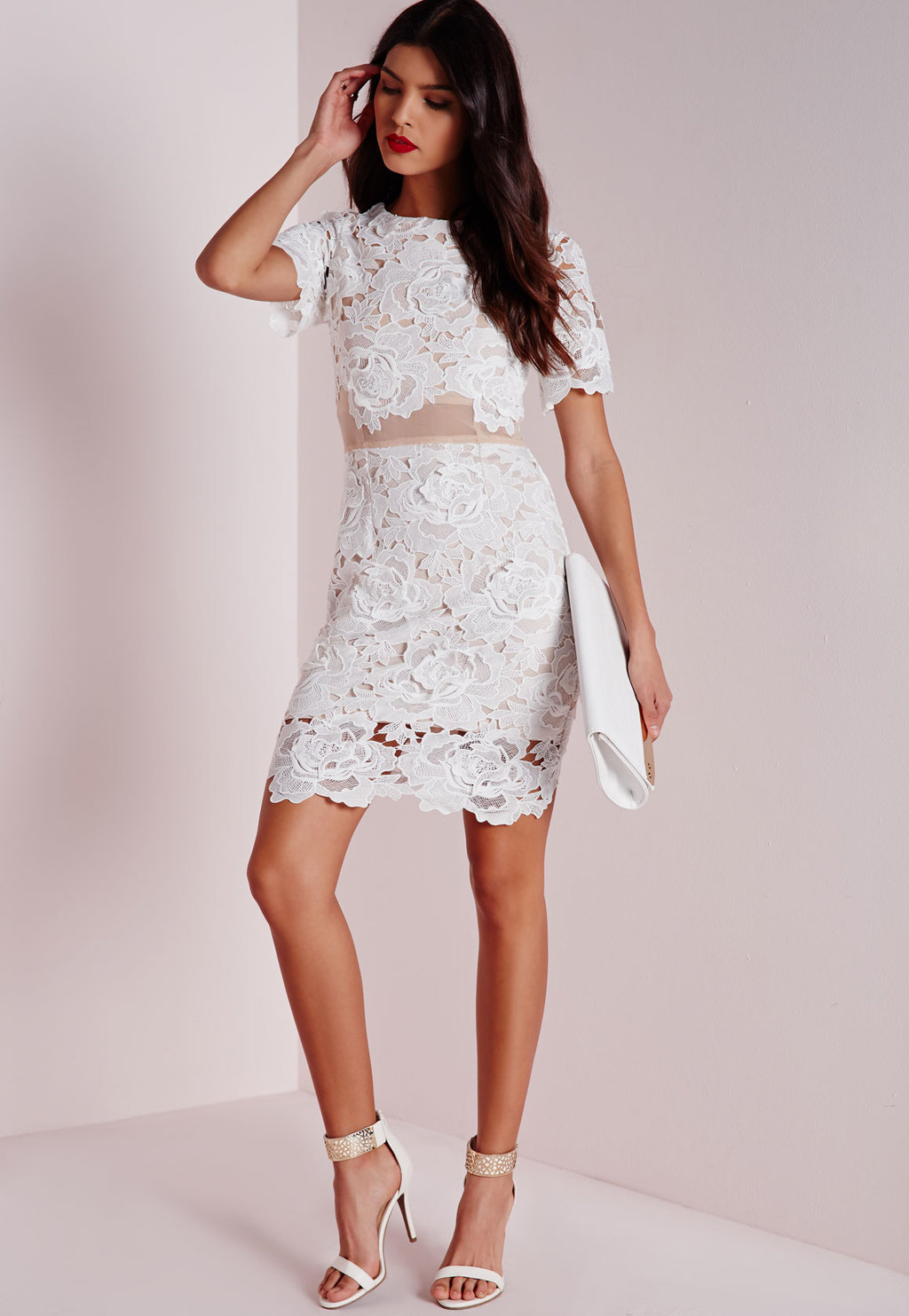 Floral Lace Mesh Waist Bodycon Dress White, Beige - fit: tight; pattern: plain; style: bodycon; predominant colour: white; occasions: evening, occasion; length: just above the knee; fibres: polyester/polyamide - stretch; neckline: crew; sleeve length: short sleeve; sleeve style: standard; texture group: lace; pattern type: fabric; pattern size: standard; embellishment: lace; season: a/w 2015; wardrobe: event