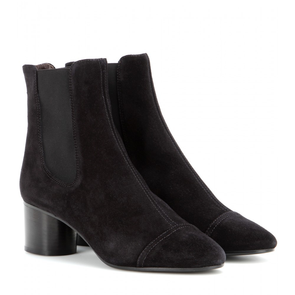 Exclusive To Mytheresa.Com Danae Suede Ankle Boots - predominant colour: black; occasions: casual, creative work; material: suede; heel height: mid; heel: block; toe: round toe; boot length: ankle boot; finish: plain; pattern: plain; style: chelsea; season: a/w 2015; wardrobe: basic
