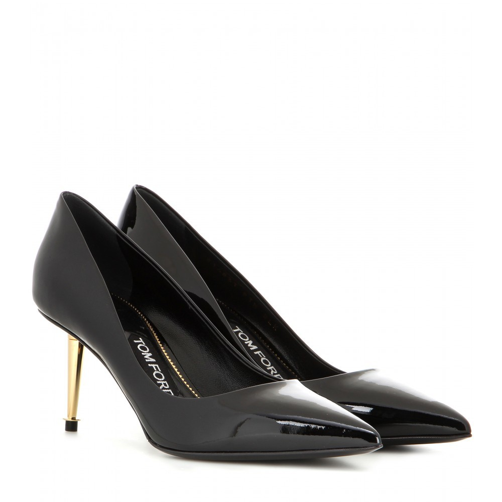 Patent Leather Pumps - predominant colour: black; occasions: evening, occasion; material: leather; heel height: high; heel: stiletto; toe: pointed toe; style: courts; finish: plain; pattern: plain; season: a/w 2015; wardrobe: event