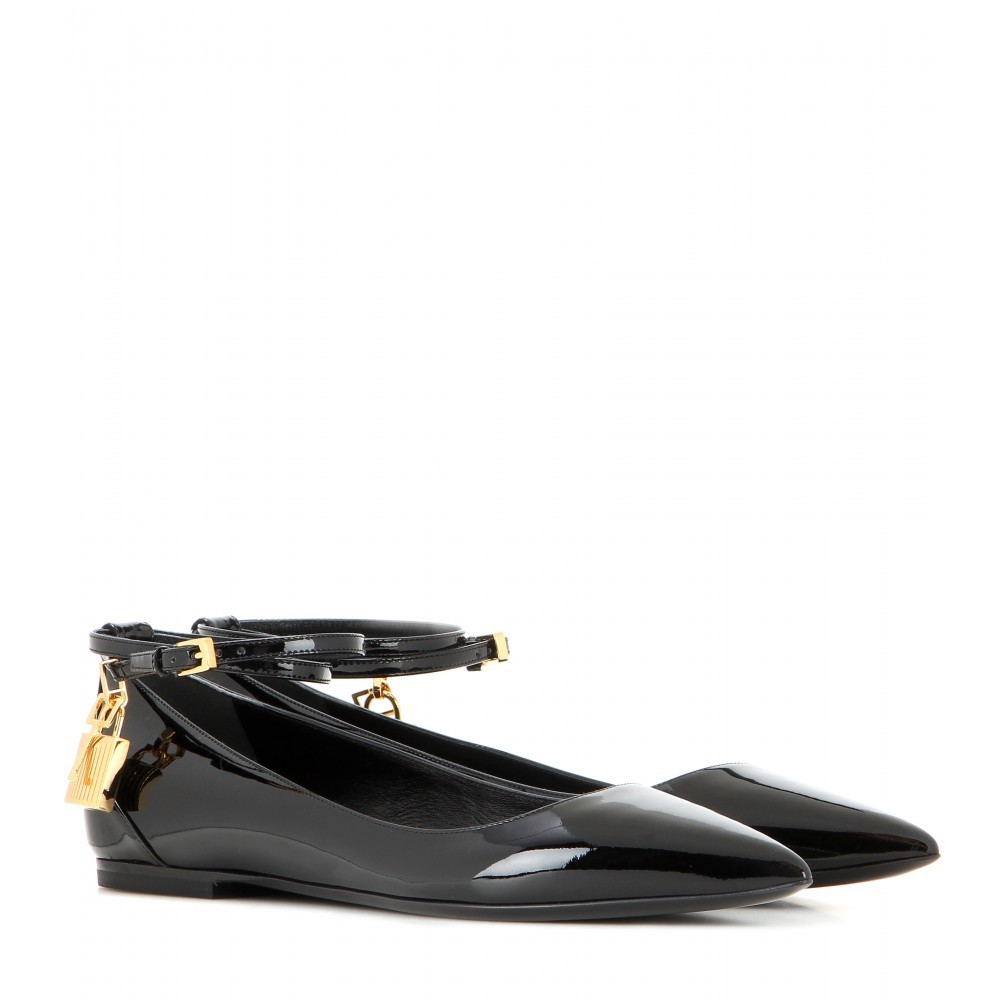 Embellished Patent Leather Ballerinas - predominant colour: black; occasions: casual, creative work; material: leather; heel height: flat; ankle detail: ankle strap; toe: round toe; style: ballerinas / pumps; finish: patent; pattern: plain; embellishment: chain/metal; season: a/w 2015; wardrobe: basic