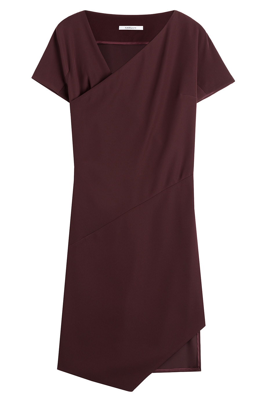 Dress With Asymmetric Hem - pattern: plain; neckline: asymmetric; predominant colour: burgundy; occasions: evening, occasion, creative work; length: on the knee; fit: body skimming; style: asymmetric (hem); fibres: polyester/polyamide - 100%; sleeve length: short sleeve; sleeve style: standard; pattern type: fabric; texture group: jersey - stretchy/drapey; season: a/w 2015; wardrobe: highlight