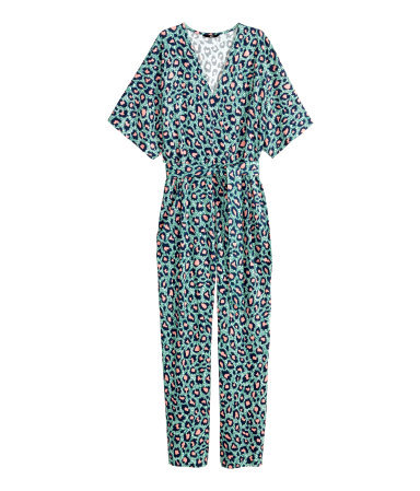 Patterned Jumpsuit - length: standard; neckline: low v-neck; fit: fitted at waist; waist detail: belted waist/tie at waist/drawstring; secondary colour: pink; predominant colour: pistachio; occasions: casual, evening, creative work; fibres: polyester/polyamide - stretch; sleeve length: short sleeve; sleeve style: standard; style: jumpsuit; pattern type: fabric; pattern size: standard; pattern: animal print; texture group: jersey - stretchy/drapey; multicoloured: multicoloured; season: a/w 2015; wardrobe: highlight